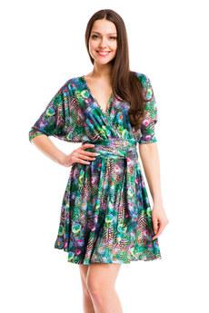 Зеленое платье на лето с принтом Перо павлина Mondigo