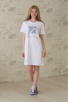 Платье-футболка из 100% хлопка белая FIORITA
