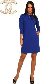 Синее платье с длинным рукавом Натали