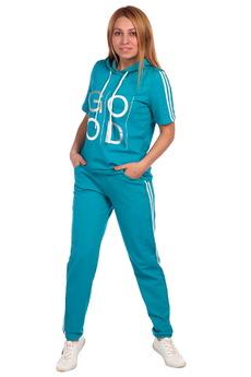 Изумрудный спортивный костюм с капюшоном ElenaTex со скидкой