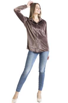 Коричневая бархатная рубашка Bast со скидкой